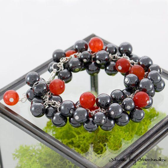 Beautiful bracelet made with black hematite and by MadeByMarchewka