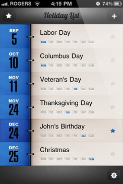 Holiday App for Americans | Shows you holidays specific to your location | Has a sleek countdown timer to every holiday | Allows you to create your own reminders for important dates | You can set notifications for any holiday      Share your holidays with your friends and family via Facebook or Twitte