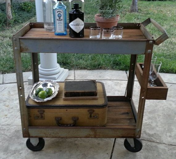 Industrial Bar Cart Rolling - Rusty Metal Table - Casters - Reclaimed Wood