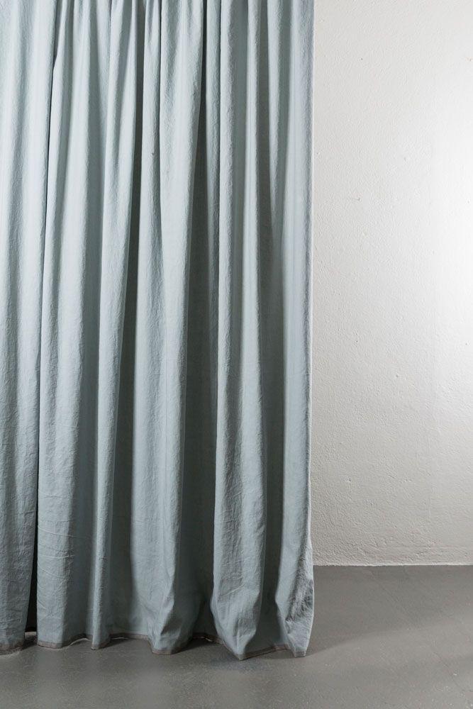 Belize Light Blue Grey Linen Cotton Curtains 285cm 112