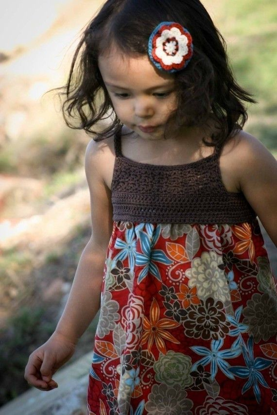 Crochet Dress Pattern - Make Your Own Girls Crochet and Fabric Summer Dress - Pattern Tutorial FOUR Sizes 4 to 7 Yrs