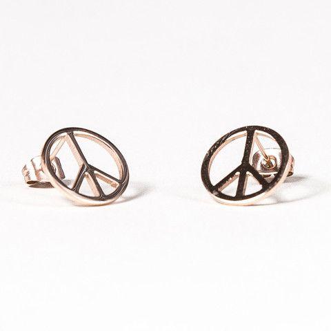 Pendientes rosados de acero con símbolo de la paz