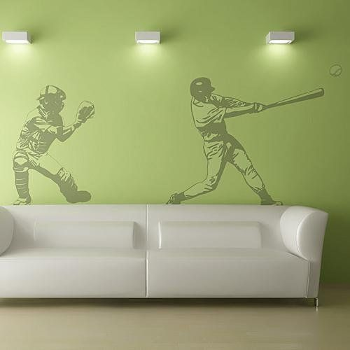 Baseball Wall Mural Cheap Apartment Decorating