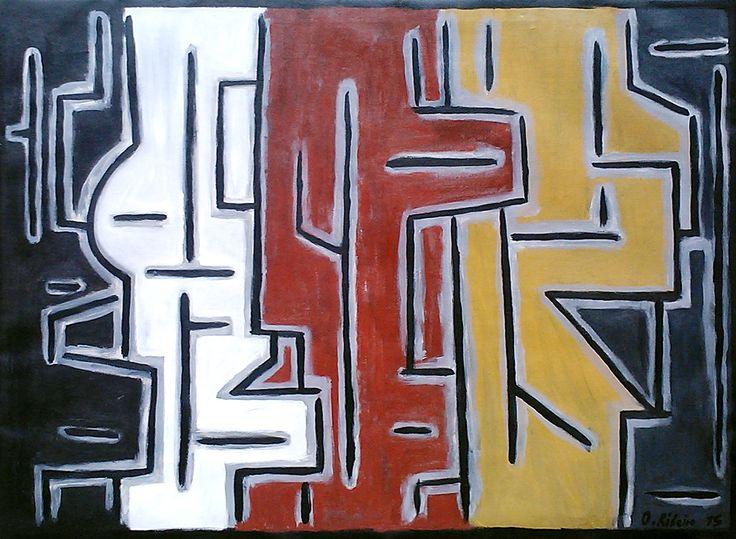 """Oscar Ribeiro """"Formas"""" Acrílico sobre tela 97 x 130 cm. Año 2015"""