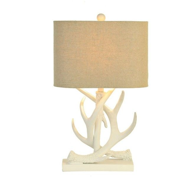 White Antler Table Lamp ($56) ❤ liked on Polyvore featuring home, lighting, table lamps, fabric shades, fabric shade, antler table lamp, antler lamp and antler lighting