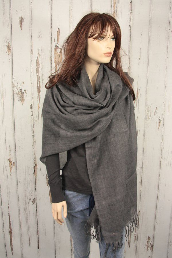 Tif-Tiffy grote basic shawl wool antraciet als omslagdoek