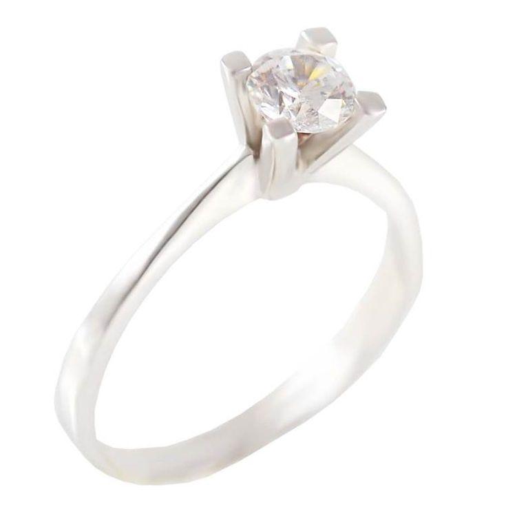 ΕΜ34Ζ- Λευκόχρυσο μονόπετρο δαχτυλίδι με ζιργκόν