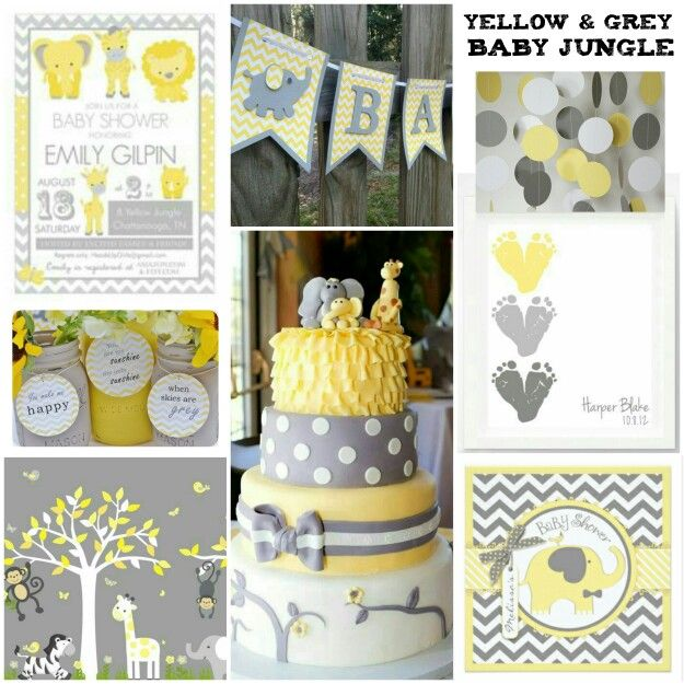 Yellow and Grey Baby shower with Chevron Accents - Baby Shower Theme - Girl Baby Shower - Baby Jungle Baby Shower Decorations