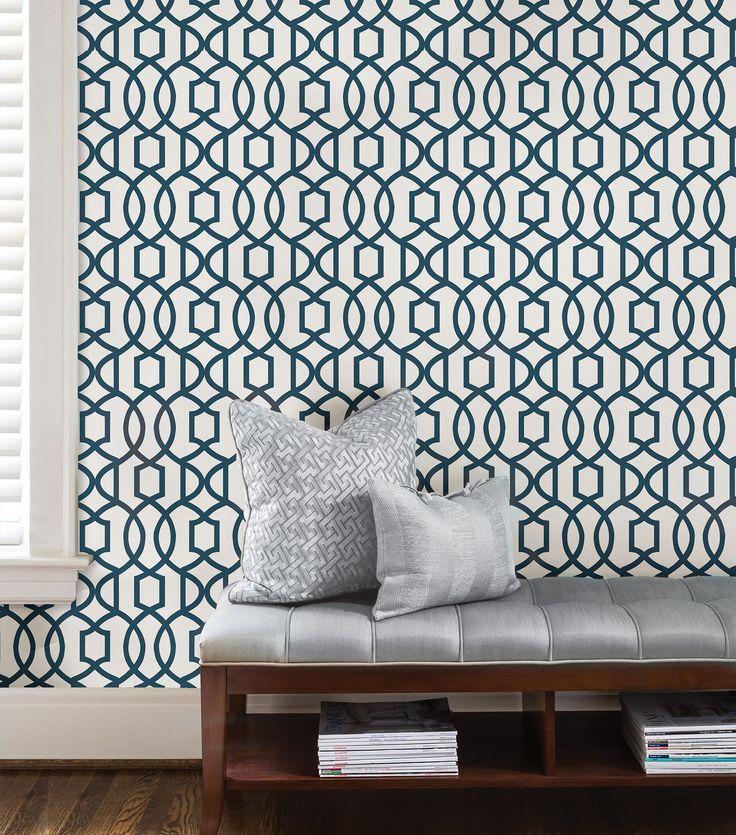 Wallpops grand trellis navy peel stick wallpaper l5500mm w520mm wall