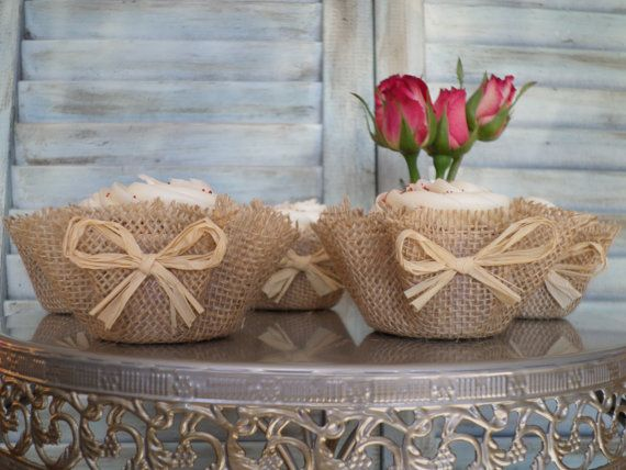 Burlap Cupcake Wrappers 100 Raffia Papers by ThreeTwigsDesigns, $84.00