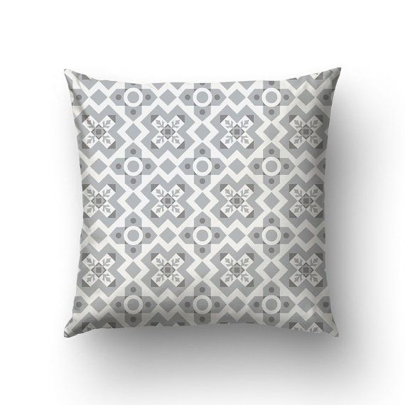 Grey Pillow Cover Spanish Tile Pillow Graphic by Macrografiks