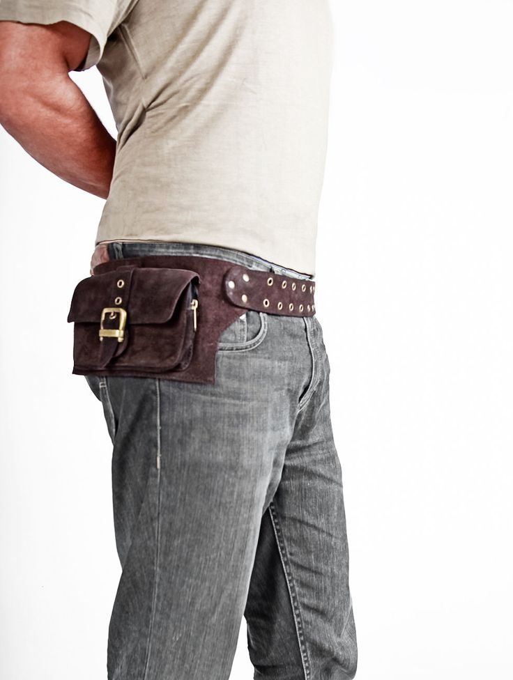 men leather bag in brown belt pouch hip bag