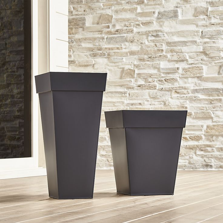 Shop Zinc Square Planters.  Square planters update the outdoor classic with strong lines in sleek, galvanized steel for a clean, contemporary look.