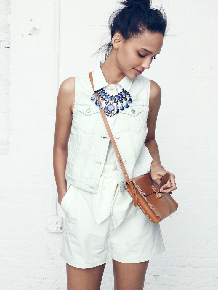 Madewell destructed jean vest worn with sash romper + Tribal Souk™ necklace.