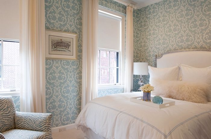 papel de parede azul pastel para quarto de casal