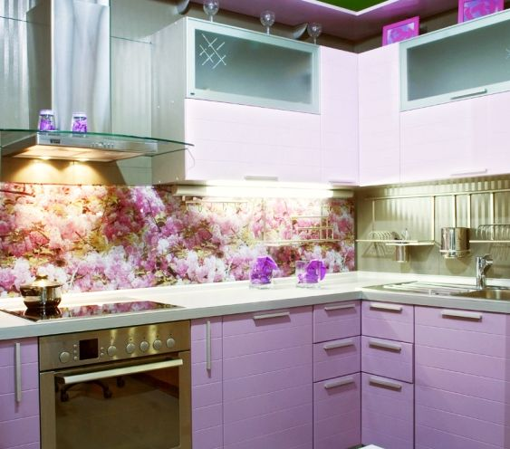 Floral Kitchen Backsplash Design With 3D Glass Panel 3D Glass Panels With  Photo Printing To Get