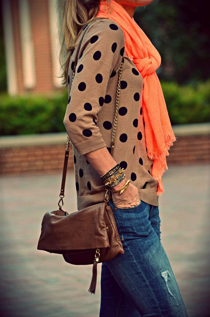 love all of it!: Polka Dots, Fashion, Style, Color, Outfit, Fall, Scarf, Polkadots