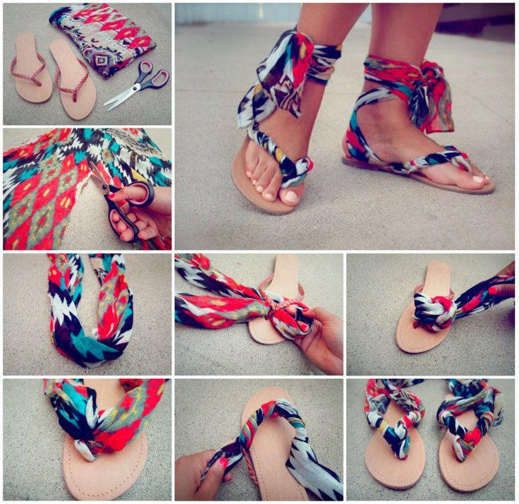 DIY Scarf Ankle Wrap Sandals fashion summer style diy craft crafts diy  crafts summer crafts how