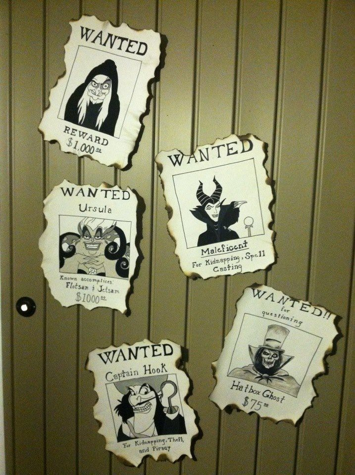 My diy Disney wanted villains posters for halloween to place on porch by door. Draw, paint and the burn edges (carefully so you don't burn your artwork!).