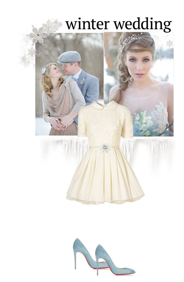 """Winter Wedding"" by sunflower1999 ❤ liked on Polyvore featuring Jones + Jones and Christian Louboutin"