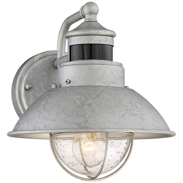 Fallbrook 9H Galvanized Dusk To Dawn Motion Outdoor Light Wall LightingOutdoor