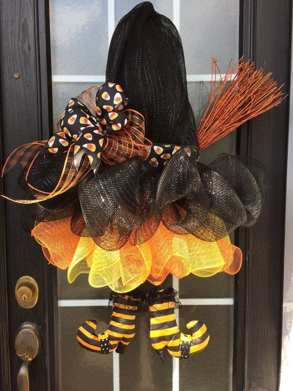 Halloween Witch Wreath Black Deco Mesh Witch Hat by SnappyPea