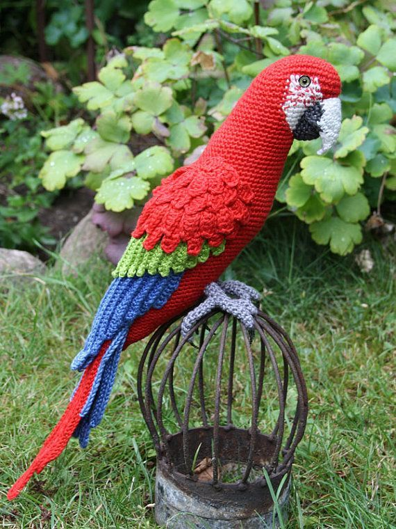 Patrón Amigurumi Red-and-Green Macaw Parrot-del por CAROcreated