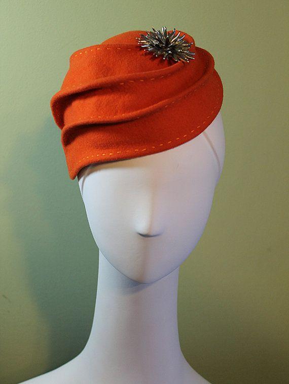 Orange Wool Sculptural Woman's Hat OOAK by BaublesAndWhatnots