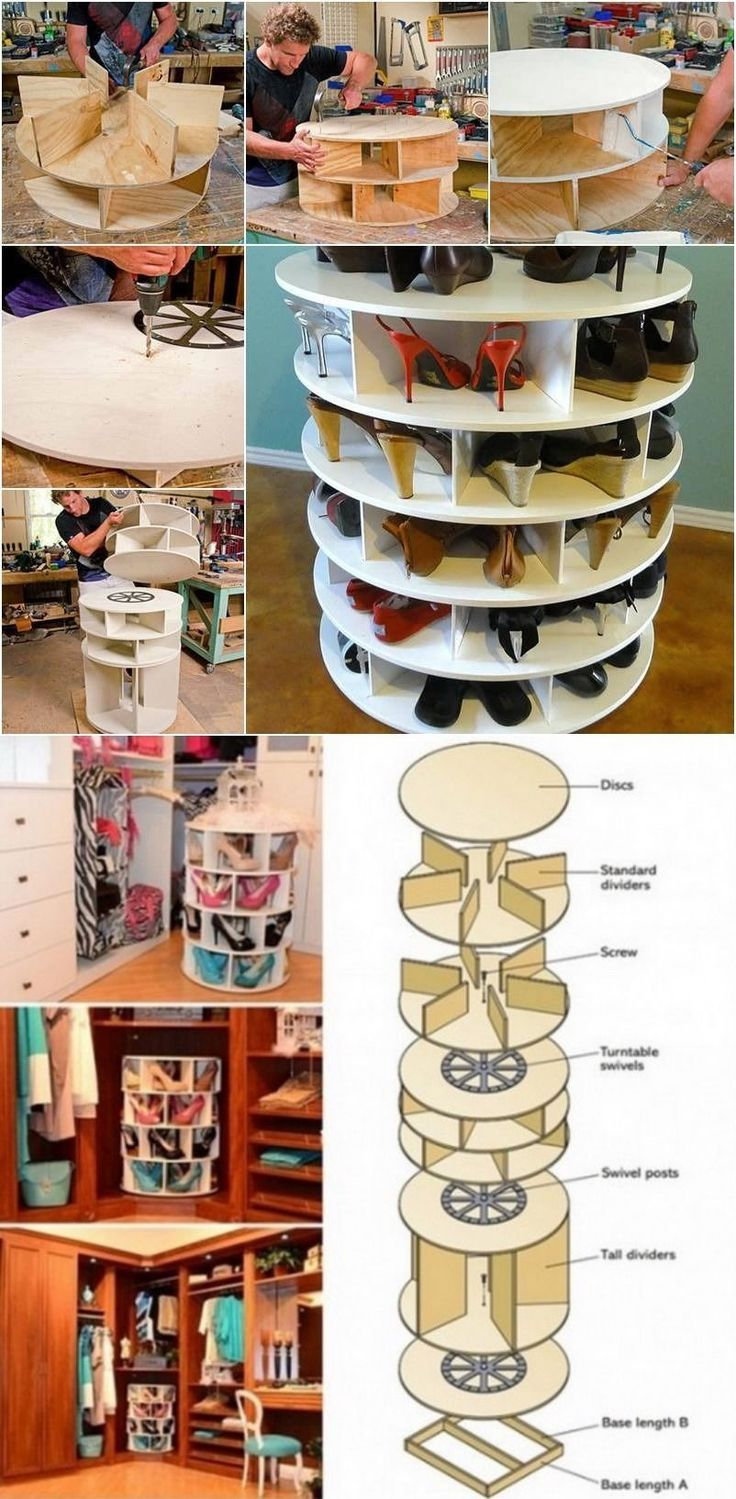How To Build A Lazy Susan Shoe Rack Shoes Diy Craft Closet Crafts Diy Ideas  Diy Crafts How To Home Crafts Organization Craft Furniture Tutorials ...