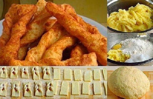 Ингредиенты: картошка крупная — 6 шт,мука — 3 стакана,яйцо — 1 шт,соль — 2 ч. л.,масло растительное для фритюра. Приготовление:  Картофель отварить в подсоленой воде до готовности. Сливаем воду, ост…