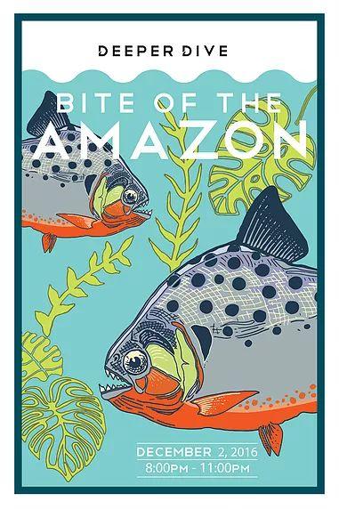 Deeper Dive event poster, Belle Isle Aquarium, Detroit