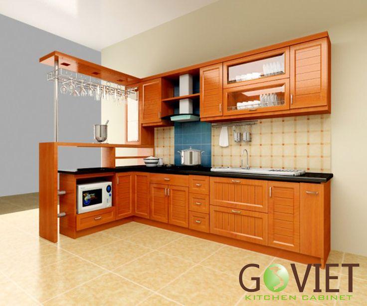 Tủ bếp gỗ tự nhiên sồi T14