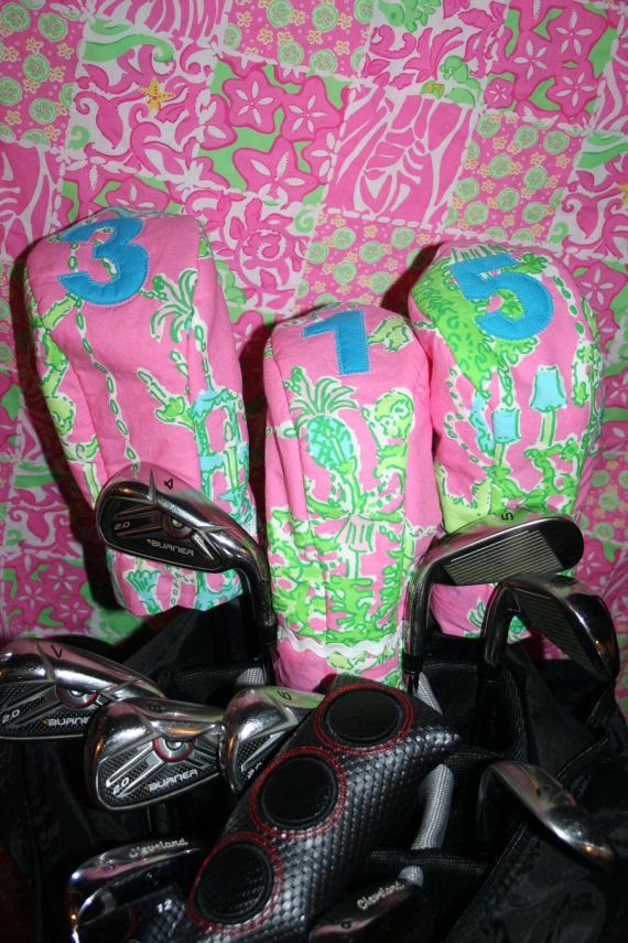 Golf Club covers made with Lilly Pulitzer fabric by shellylisser, $65.00