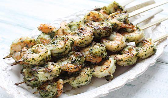Grilled Pesto Shrimp Skewers - WW