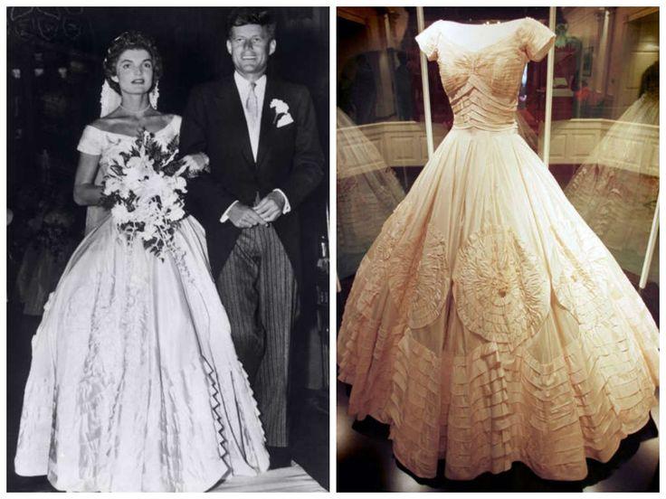 12/09/1953 Jacqueline Lee Bouvier e John Fitzgerald Kennedy. Abito disegnato dalla stilista statunitense Ann Lowe.