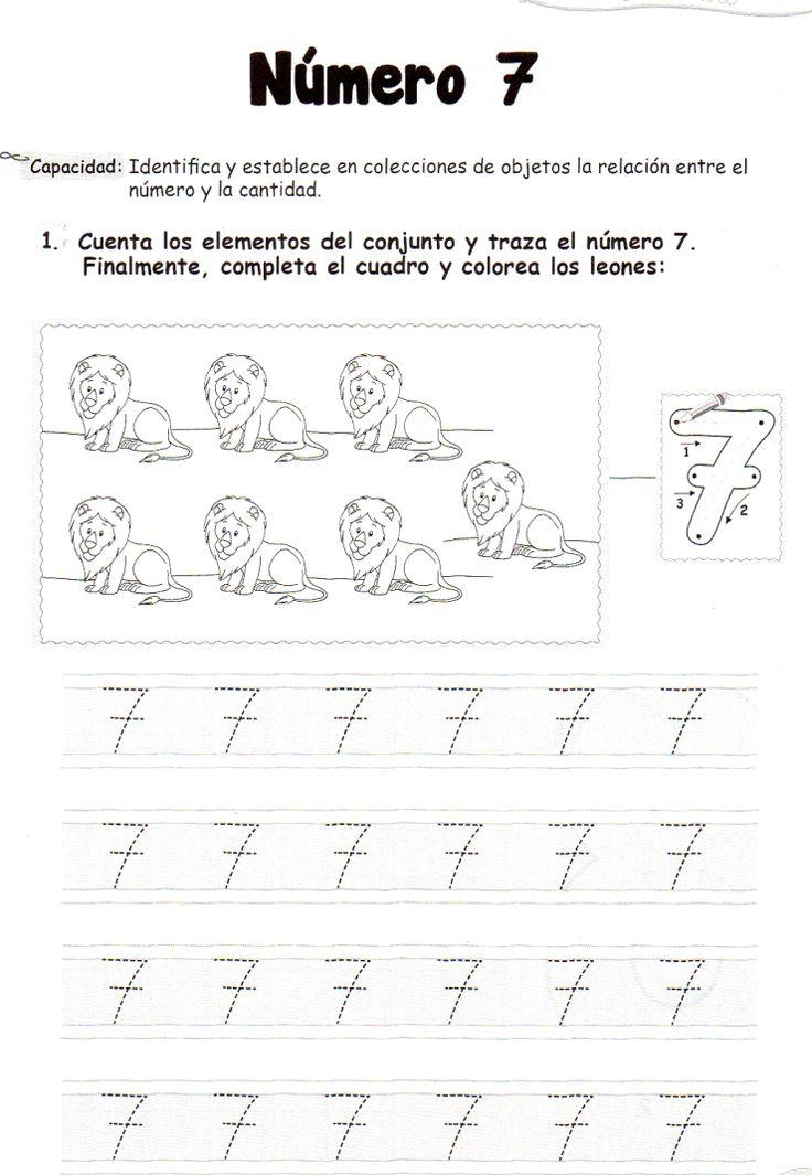 Ficha imprimible de matemáticas para 5 años. Tema: El número 7 Actividad: Cuenta los elementos del conjunto y traza el número 7. Finalmente, completa el cuadro y colorea los leones.