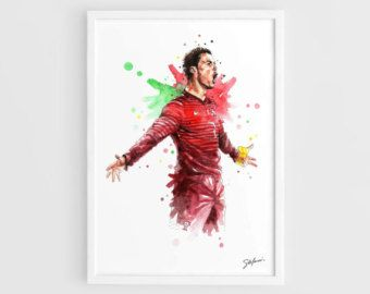Cristiano Ronaldo (Portugal national football team) FIFA World Cup Brasil 2014 -A3 Wall Art Print Poster of the Original Watercolor Painting