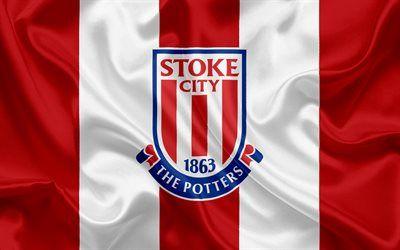 Download imagens Stoke City FC, Premier League, futebol, Stoke-on-Trent, Reino Unido, Inglaterra, bandeira, emblema, Stoke City logotipo, Clube de futebol inglês grátis. Imagens livre papel de parede