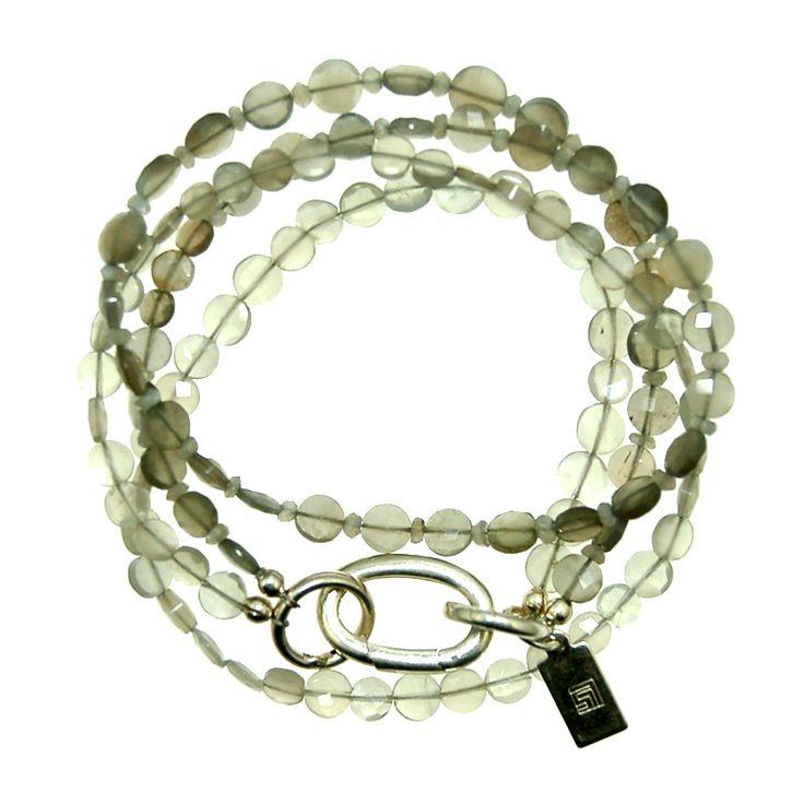 Grey Moonstone Bracelet/ Necklace Combo (B374MW) $190