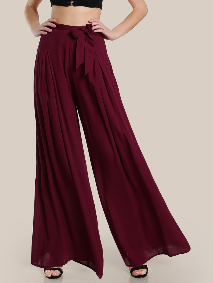 Shop Self Tie Fold Pleated Palazzo Pants online. SheIn offers Self Tie Fold Pleated Palazzo Pants & more to fit your fashionable needs.