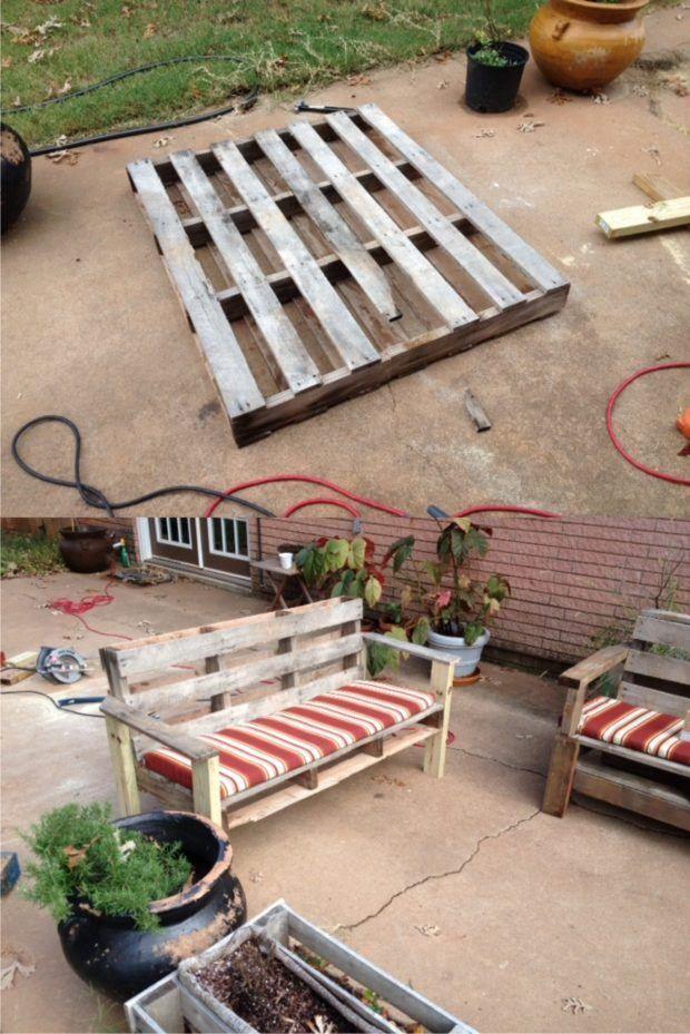 Sofá para jardín con un palé - rkblack.com/blog