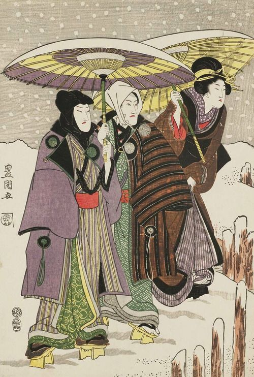 Actors and Women in Snow.  Ukiyo-e woodblock print, about 1810, Japan, by artist Utagawa Toyokuni I.