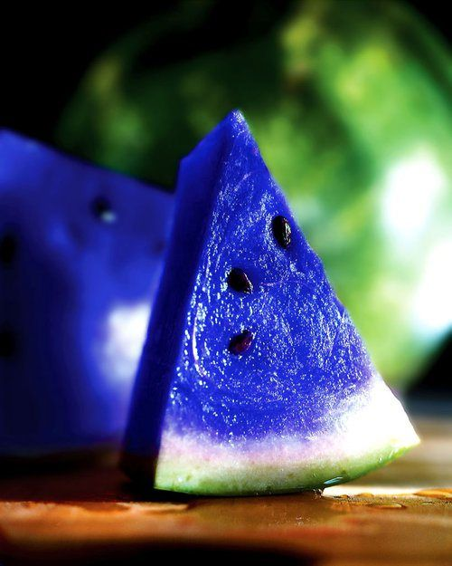 Blue Watermelon! Who knew??? Moonmelon (scientifically knows as asidus). This fruit grows in some parts of Japan and is known for its vibrant blue color. This fruit's party trick is that it can switch flavors after you eat it. Everything sour will taste sweet, everything salty will taste bitter, and it gives water a strong orange-like taste!