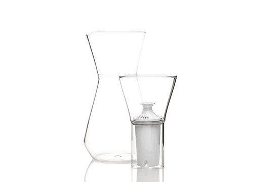 Chicago native Felicia Ferrone designed the Talise water filter jug. Ferrone seeks to elevate everyday design to new aesthetic heights and this piece soars. The jug fits any standard sized water filter and can also be used for other beverages. It's made of Boroscilicate glass by master glassblowers in the Czech Republic. Art Institute of Chicago, Director of Graduate Studies in Industrial Design at University of Illinois Chicago, fferone, glassware, handmade, product design
