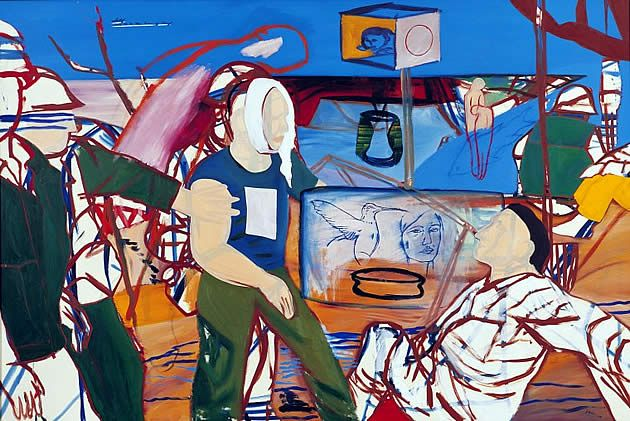 New Zealand artist Jeffrey Harris explores human relationships and conflicting emotions within his artwork. He often depicts the fragility of families and the complex interactions between members. He creates compositions that are often fragmented with large blocks of colour and jagged lines.