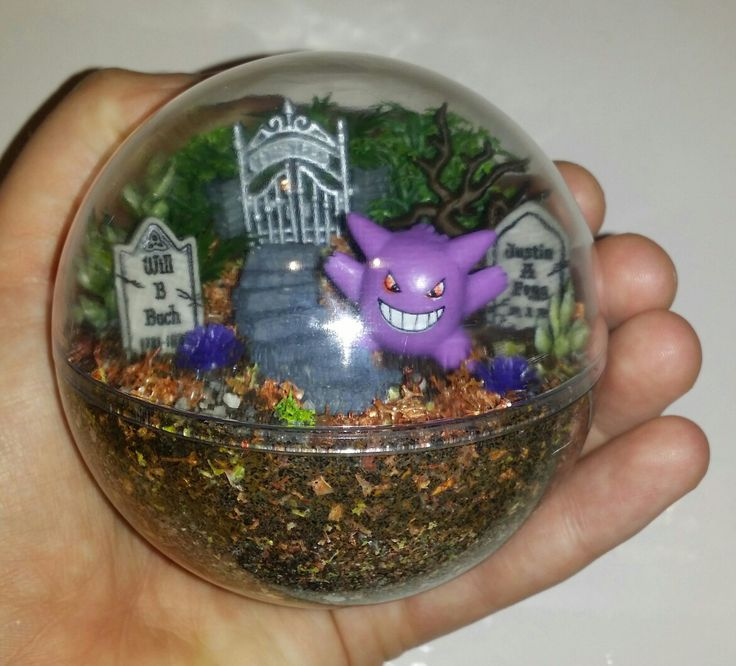 Mini miniature artificial terrarium diorama ornament decoration Pokemon Go Handmade toy Gengar Pokemon habitat ball  To see all the Pokemon habitat balls I have made or to place an order, please visit my Facebook page https://m.facebook.com/sparklesandstring/