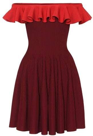Ribbed Off The Shoulder Dress Fashion Short Dresses
