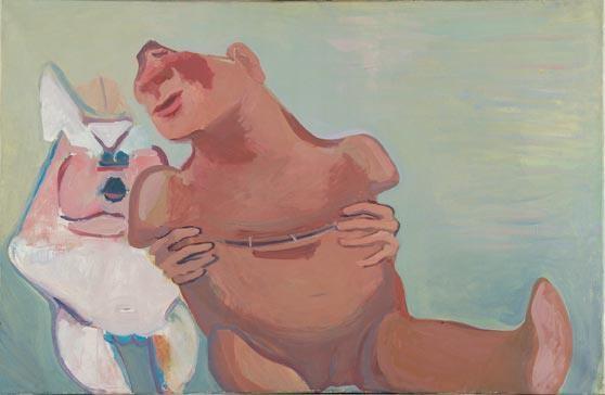 Maria Lassnig: Der nicht emanzipierte Mensch, 1967. (Lentos)