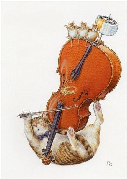 After an evening of companionable drinking, Jackson and the mice found they had a love of music in common....