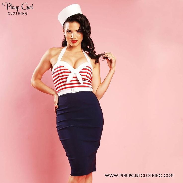 Pinup Couture classic. This nautical-inspired wiggle dress features a sleeveless red and white striped bodice with sewn-in cups for some extra va-va-voom, white trim with a saucy tie at the front, and a navy blue bengaline wiggle skirt.